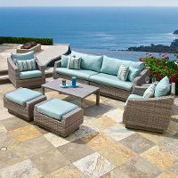 OP-PES8-CNS-BLS-K Blue 8 Piece Wicker Sofa & Chair Set - Cannes