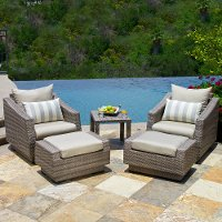 OP-PELCLB5-CNS-SLT-K Slate Gray 5 Piece Wicker Patio Set - Cannes