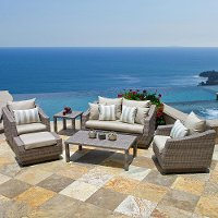 OP-PEOSS6-CNS-SLT-K Slate 6 Piece Wicker Love and Chair Set - Cannes
