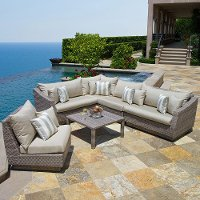OP-PESS6-CNS-SLT-K Slate 6 Piece Wicker Sectional and Table Set - Cannes