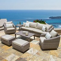 OP-PESS8-CNS-SLT-K Slate 8 Piece Sofa and Chair Set - Cannes