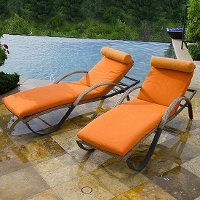 Set of 2 Tikka Orange Outdoor Chaise Lounge Chairs - Cannes