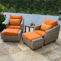 OP-PECLB5-CNS-TKA-K Tikka Orange 5 Piece Wicker Patio Set - Cannes