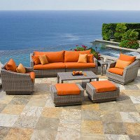 OP-PESS8-CNS-TKA-K Tikka Orange 8 Piece Wicker Sofa & Chair Set - Cannes