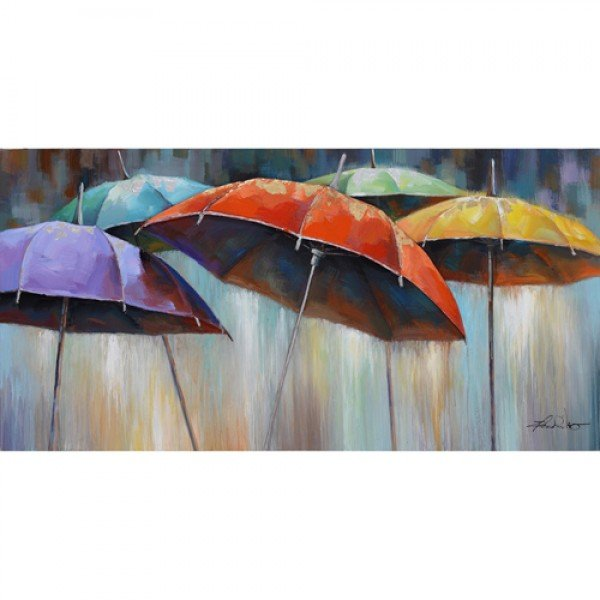 An amazing composition which depicts a group of vividly colored umbrellas, the background is a melange of colors that belong to the palette of a stormy cityscape. The grays mingle with both warm and cool tones and they pour down the canvas just as rain drops would. On the upper side of the painting, a series of colorful window-like shapes are a reminder of the crowded and vivid landscape of a city. The main elements of the composition are the five wet umbrellas. They are all painted in different colors. They make the composition look extremely vivid and appealing. The picture is dominated by a sense of unity. The adventurous choice of colors makes it a must have. The colors can be easily mixed and matched with the elements of any room. The acrylic paint creates a rich texture that will really catch the light creating a very sophisticated allure.