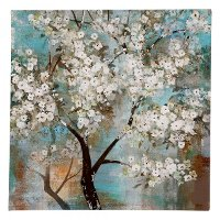 White Blossom Tree In Bloom Canvas Wall Art