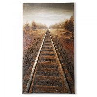 Into The Distance Train Tracks Canvas Artwork Wall Art