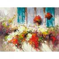 Window Box Multi Color Canvas Wall Art
