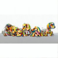 Multi-Color 'Patchwork Puppies' Canvas Wall Art