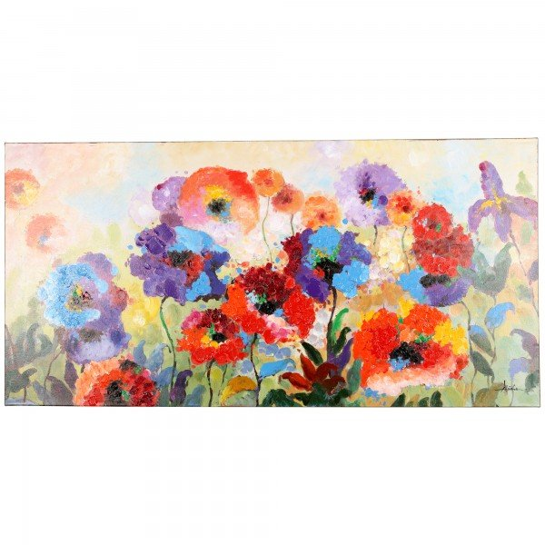 Heavily textured contemporary floral garden piece. Flowers are rendered with bold impressionistic brushstrokes in saturated hues of blue, green, purple, red and yellow.