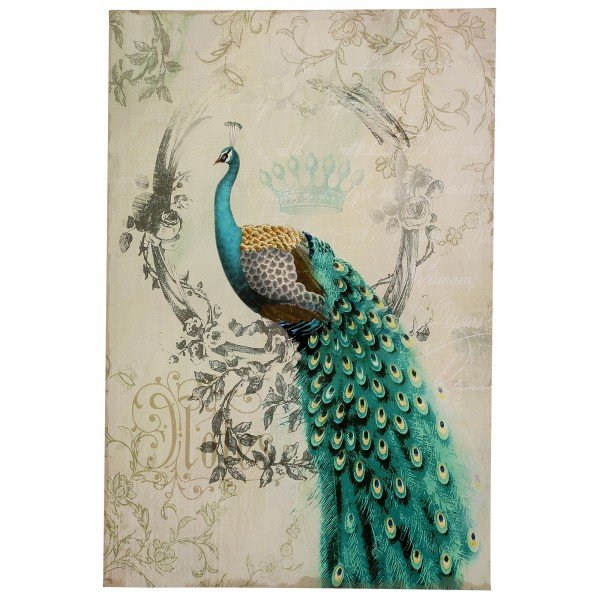 """""""Peacock Poise II"""" 24"""" x 35"""" Canvas Artwork Left facing peacock printed in soft tints of aqua, teal and green with metal accents on a linen canvas."""