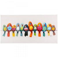 Multi-Color 'Birds On A Wire I' Canvas Wall Art