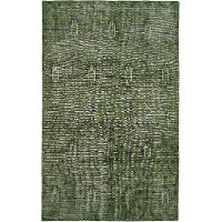 6 x 9 Medium Vintage Green Area Rug - Restoration