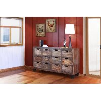 Antique Rustic Brown 12 Drawer Console