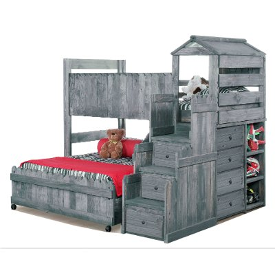 driftwood rustic twin over full loft bed fort - Loft Bed Frame Full