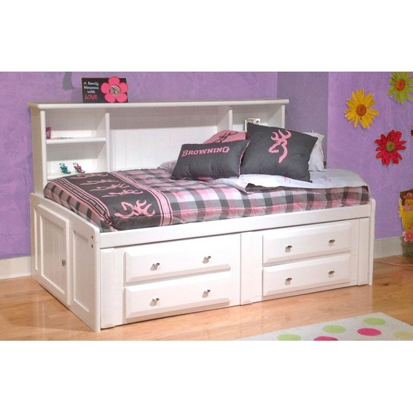 White Twin Contemporary Roomsaver Storage Bed Laguna