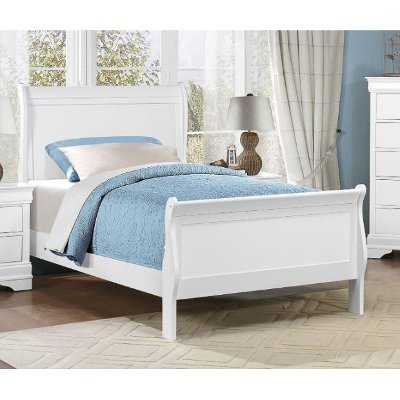White Classic Twin Sleigh Bed - Mayville