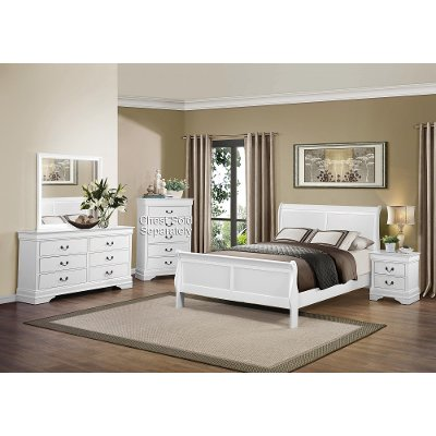 White 6 Piece Queen Bedroom Set Mayville
