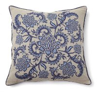 Indigo Blue Embroidered Throw Pillow