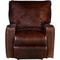 Classic Contemporary Brown Leather Power Recliner - Antique