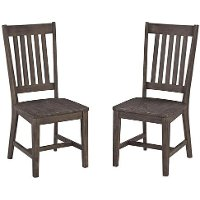 Set of 2 Brown Dining Chairs - Concrete Chic