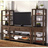 Brown 3 Piece Minimalistic Entertainment Center - Barnside