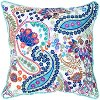 White and Teal Paisley Design Throw Pillow