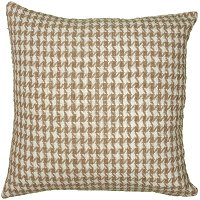 Tan Houndstooth 22 Inch Throw Pillow