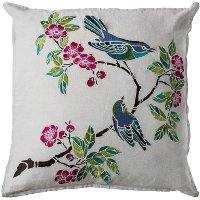 Blue Birds and Pink Flowers Throw Pillow