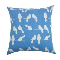Blue and White Dove Throw Pillow