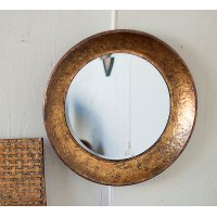 Round Antique Gold Metal Mirror