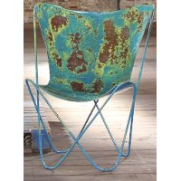 Blue Rustic Iron Butterfly Chair