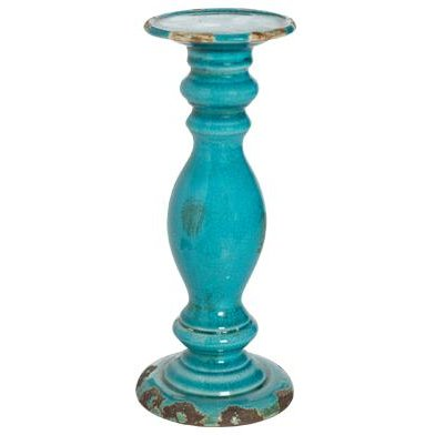 14 Inch Distressed Blue Candle Holder