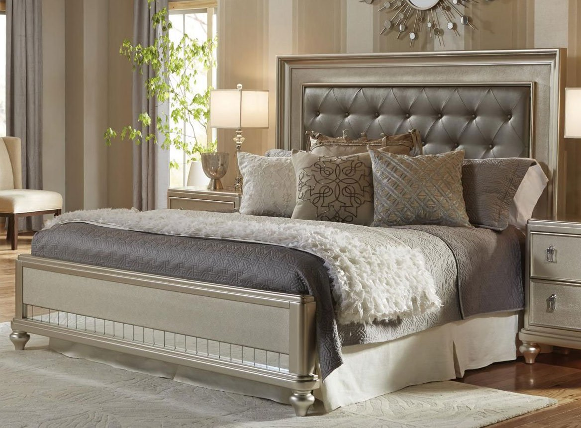 Champagne 6 piece queen bedroom set diva rc willey - Queen size bedroom furniture sets ...