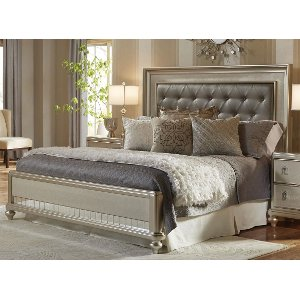 diva champagne metallic champagne queen size bed diva - Samuel Lawrence Furniture