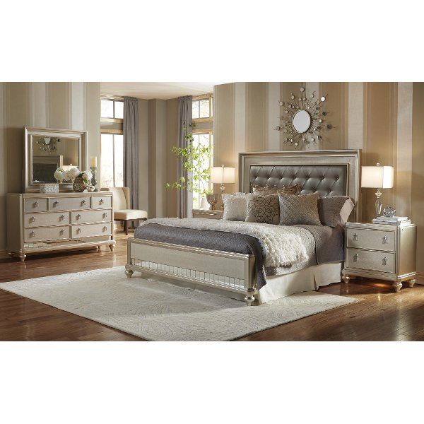 ... Clearance Champagne 6 Piece California King Bedroom Set   Diva