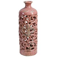 Distressed Pink Pierced Vase with Fleur De Lis
