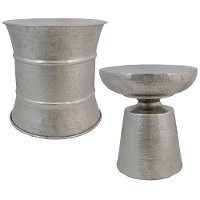 18 Inch Silver Accent Stool
