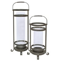 20 Inch Metal and Glass Lantern