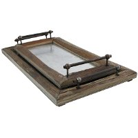 22 Inch Wood Dinah Tray with Handles