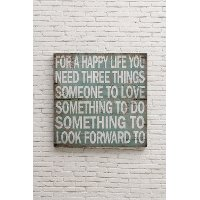 For A Happy Life Square Wooden Wall Plaque