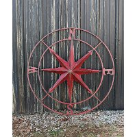 Distressed Red Metal Compass Wall Plaque