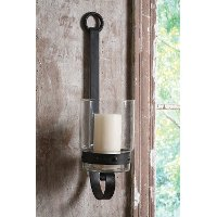 22 Inch Metal and Glass Wall Sconce