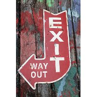Multi Color Exit..Way Out Metal Sign