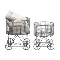15 Inch Metal Vintage Laundry Basket