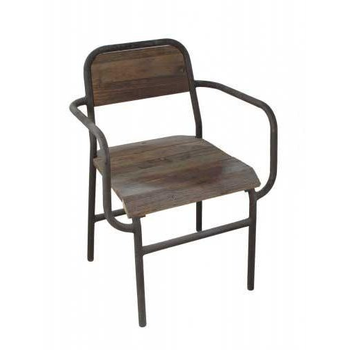 Wood And Metal Dining Room Arm Chair