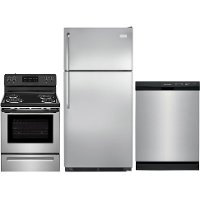 SS-3PC-ELE-PACKAGE Frigidaire 3 Piece Electric Kitchen Appliance Package with 18 cu. ft. Refrigerator - Stainless Steel