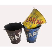 Assorted Painted Iron Bucket