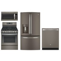 4PC-SLATE-GAS-PACKG GE 4 Piece Kitchen Appliance Package with Gas Range - Slate