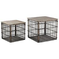 16 Inch Metal Basket Accent Table with Lid